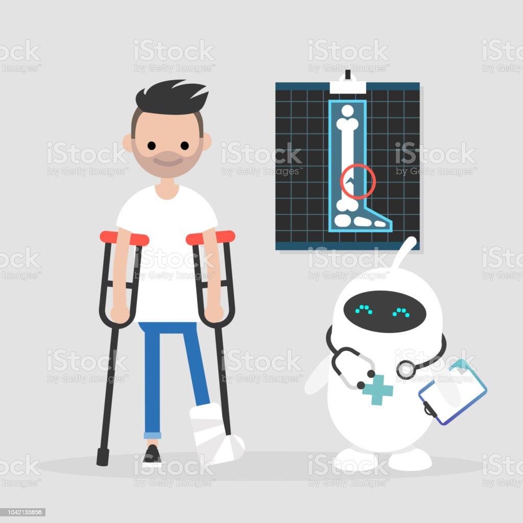 新しい技術近代的な医療かわいい白い医者ロボット編集可能な足の骨折で