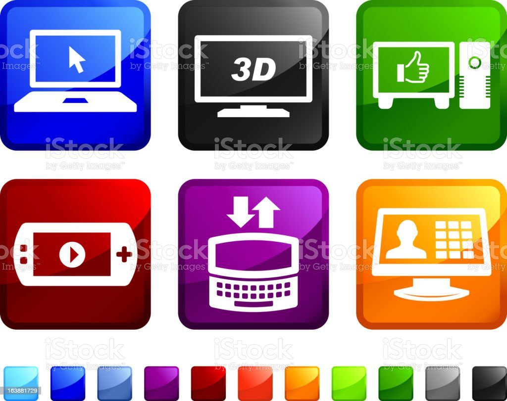 New Technology and Electronics royalty free vector icon set stickers royalty-free stock vector art