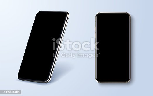istock New trendy, metallic modern mobile phone template in different angles. Top view, front view, perspective view, tilted view. A good phone layout for any purpose, presentations or mockups. Realistic eps 1225870823