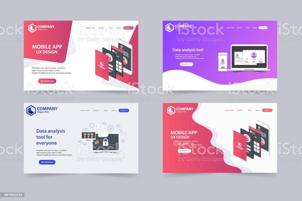 38182d144 Nuevas páginas de inicio de sitio web moda vector tema plantilla diseño  ilustración de nuevas páginas