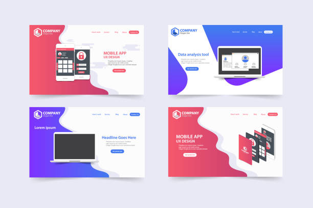 Neue trendige Website Landing Pages Vektor-Design-Template-design – Vektorgrafik