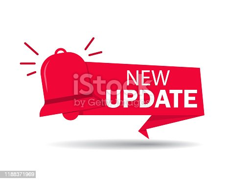 istock New update label. Red banner of update information for bussines, website, poster of social media. Ribbon improved software on isolated background. Badge of available new upgrade. vector 1188371969