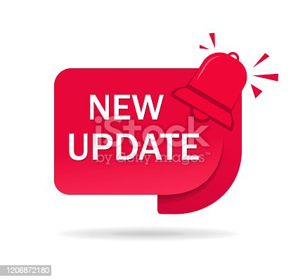 New update label, tag. Red icon of update information for service website, poster of social media. Banner improved edition on isolated background. Badge of available new upgrade. vector illustration