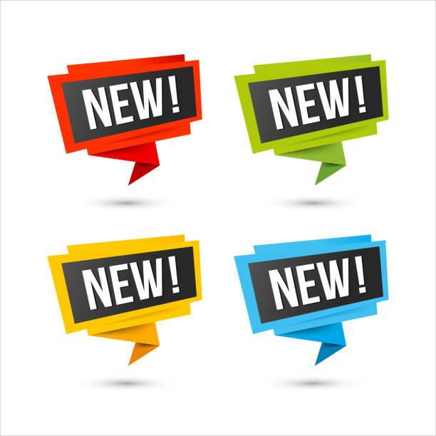 ilustrações de stock, clip art, desenhos animados e ícones de new vector icons - origami paper labels - new