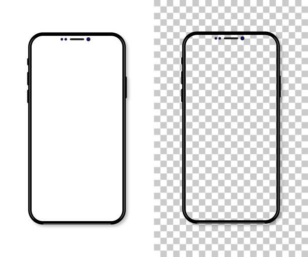 illustrazioni stock, clip art, cartoni animati e icone di tendenza di nuova versione dello smartphone nero sottile con schermo bianco vuoto. illustrazione vettoriale realistica - smart phone