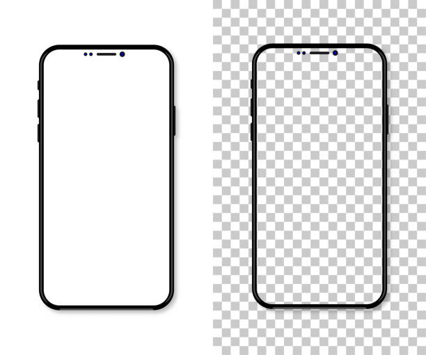 New version of black slim smartphone with blank white screen. Realistic vector illustration New version of black slim smartphone with blank white screen. Realistic illustration iphone stock illustrations
