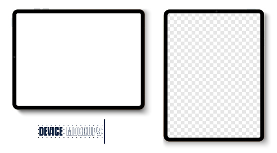 New version of premium tablet in trendy thin frame design. Tablet grey color with shadow top view isolated on white background.