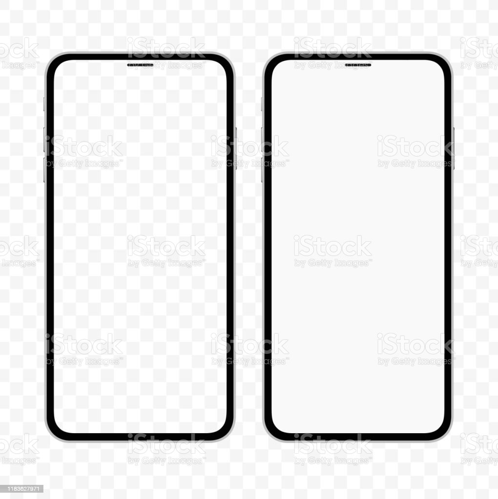 빈 흰색과 투명 한 화면 아이폰과 유사한 슬림 스마트 폰의 새로운 버전. 현실적인 벡터 그림. - 로열티 프리 0명 벡터 아트