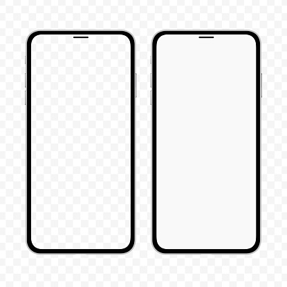 New version of slim smartphone similar to iphone with blank white and transparent screen. Realistic vector illustration.