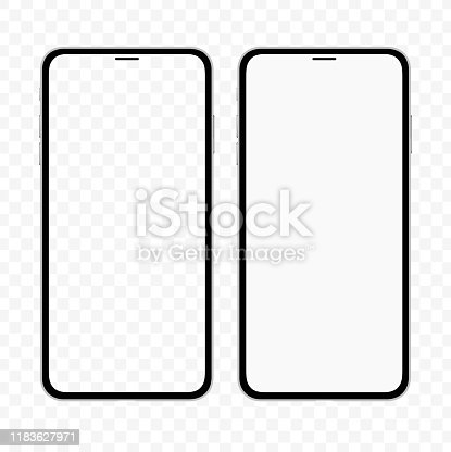 istock New version of slim smartphone similar to iphone with blank white and transparent screen. Realistic vector illustration. 1183627971