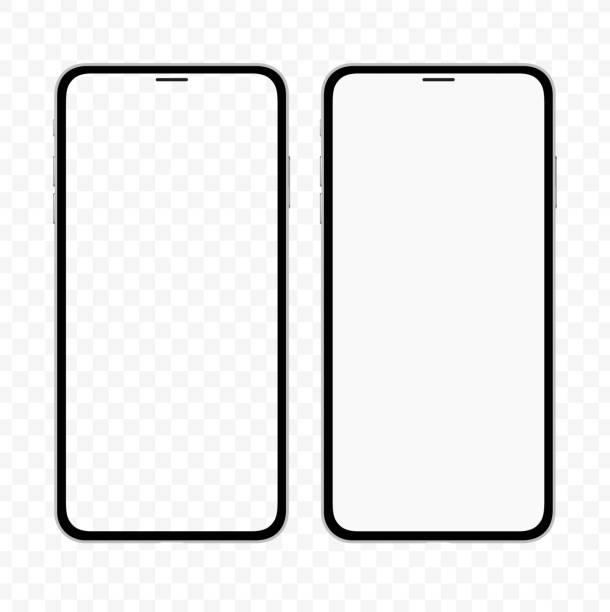 illustrazioni stock, clip art, cartoni animati e icone di tendenza di nuova versione dello smartphone sottile simile all'iphone con schermo bianco vuoto e trasparente. illustrazione vettoriale realistica. - smart phone