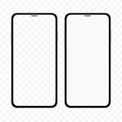 New Version Of Slim Smartphone Similar To Iphone With Blank White And Transparent Screen Realistic Vector Illustration - Arte vetorial de stock e mais imagens de Agenda Eletrónica