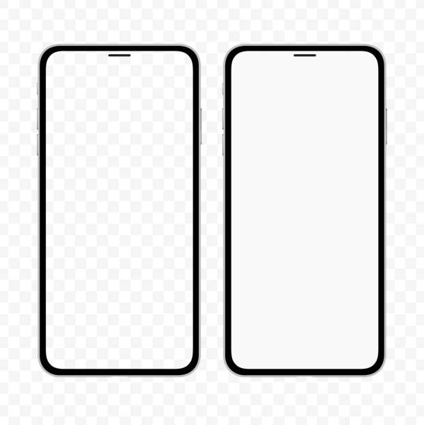 New version of slim smartphone similar to iphone with blank white and transparent screen. Realistic vector illustration. New version of slim smartphone similar to iphone with blank white and transparent screen. Realistic vector illustration. iphone stock illustrations
