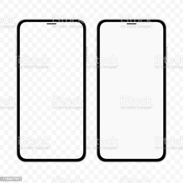 빈 흰색과 투명 한 화면 아이폰과 유사한 슬림 스마트 폰의 새로운 버전 현실적인 벡터 그림 0명에 대한 스톡 벡터 아트 및 기타 이미지