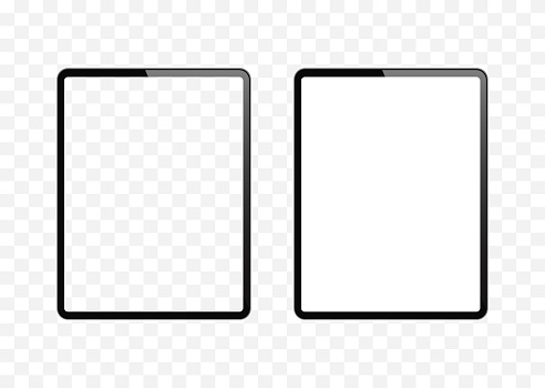 New version of slim tablet similar to tablet computer with blank white and transparent screen. Realistic vector illustration.