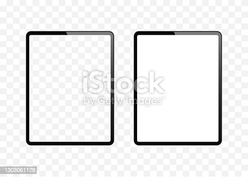 istock New version of slim tablet similar to ipad with blank white and transparent screen. Realistic vector illustration. 1303061128