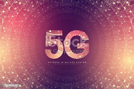 istock 5G new wireless internet wifi connection background. Global network high speed network. 5G LTE aerial network connection background. Fastest internet technology in future, vector illustration. 1295866560