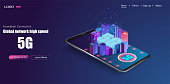 5G new wireless internet wifi connection. Smart city or intelligent building