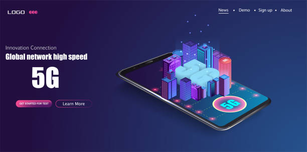 5G new wireless internet wifi connection. Smart city or intelligent building isometric vector concept. vector art illustration