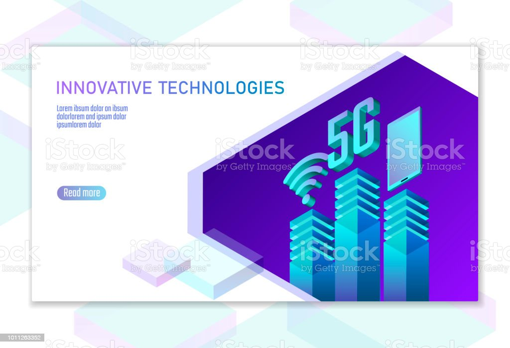 5G new wireless internet wifi connection. Smartphone mobile device isometric blue 3d flat. Global network high speed innovation connection data rate technology white card banner vector illustration vector art illustration