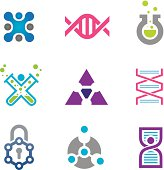 New world of cutting edge technology in science icon template