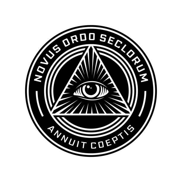 new world order emblem with all-seeing eye. novus ordo seclorum - lodge member stock illustrations