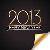 New Year 2013 background with folding corner in black and gold.  File is layered, and each element is grouped separately.  Colors are global for easy editing.