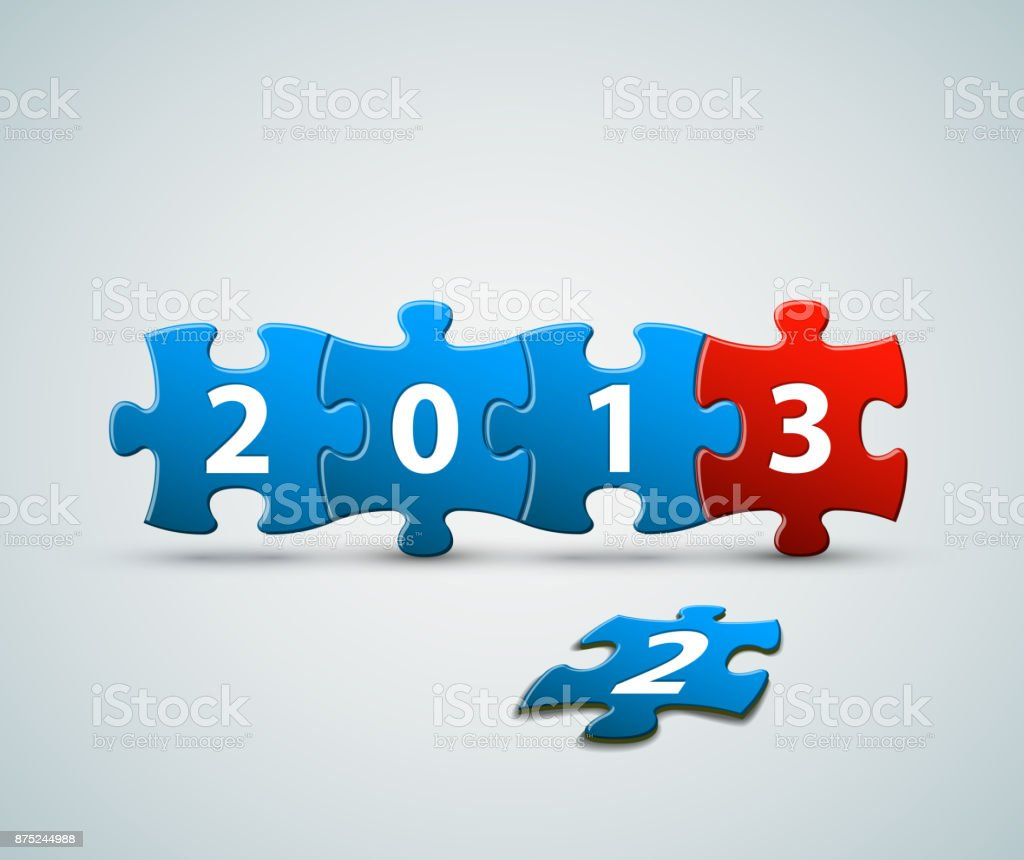 New Year 2013 card made from blue and red puzzle pieces vector art illustration