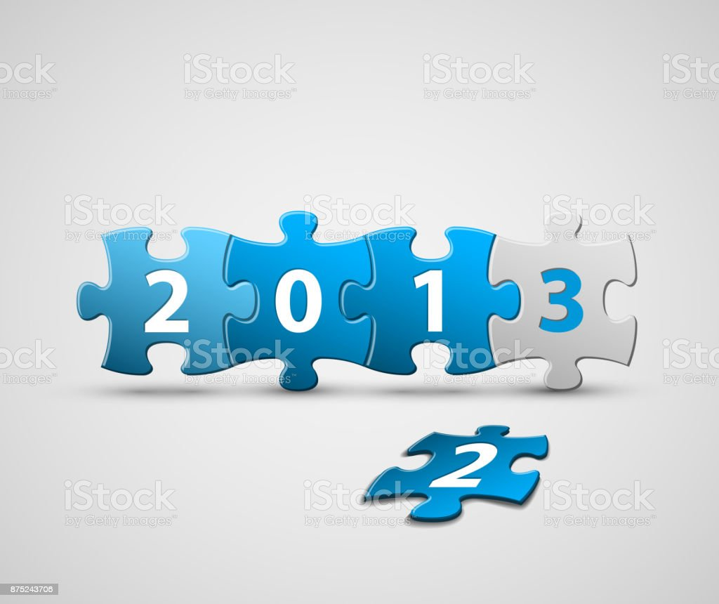 New Year 2013 card made from blue puzzle pieces vector art illustration