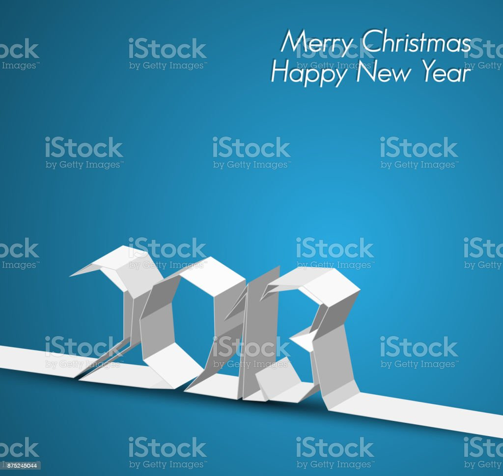 New Year 2013 card made from paper stripe vector art illustration