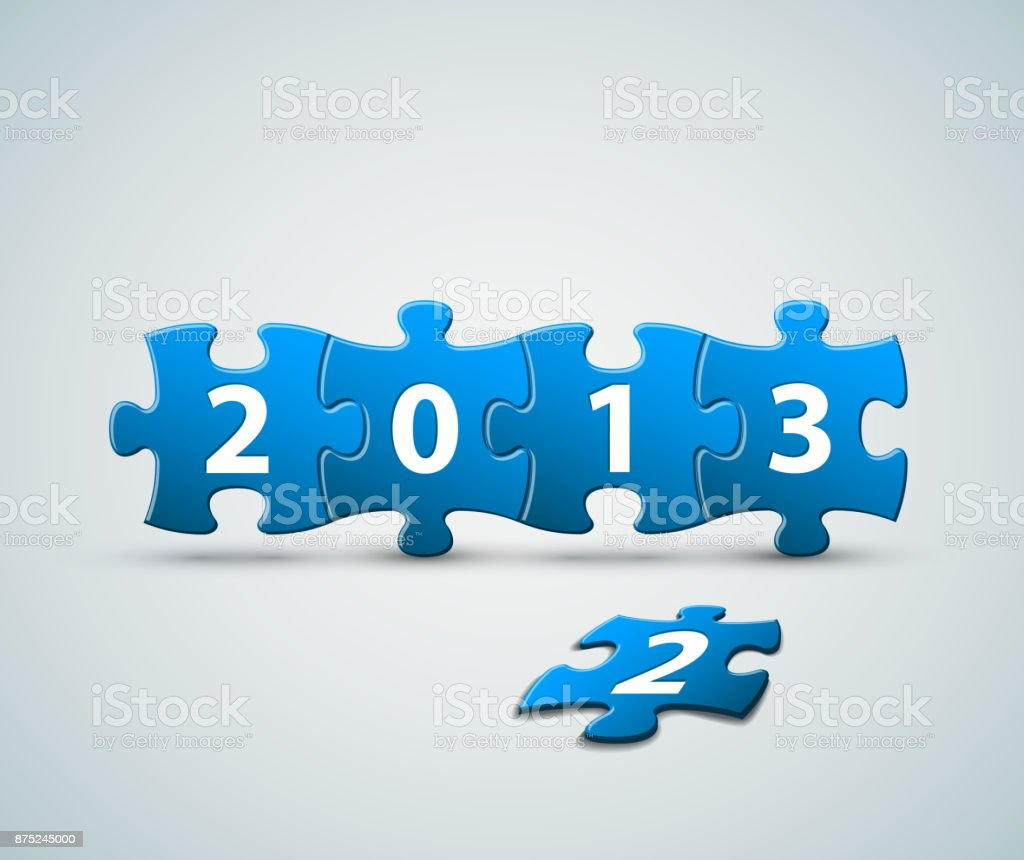 New Year 2013 card made from puzzle pieces vector art illustration