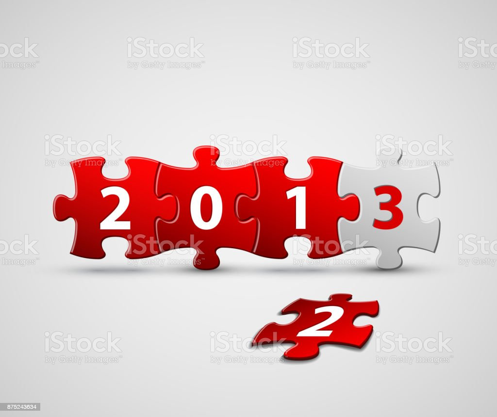 New Year 2013 card made from red and white puzzle pieces vector art illustration