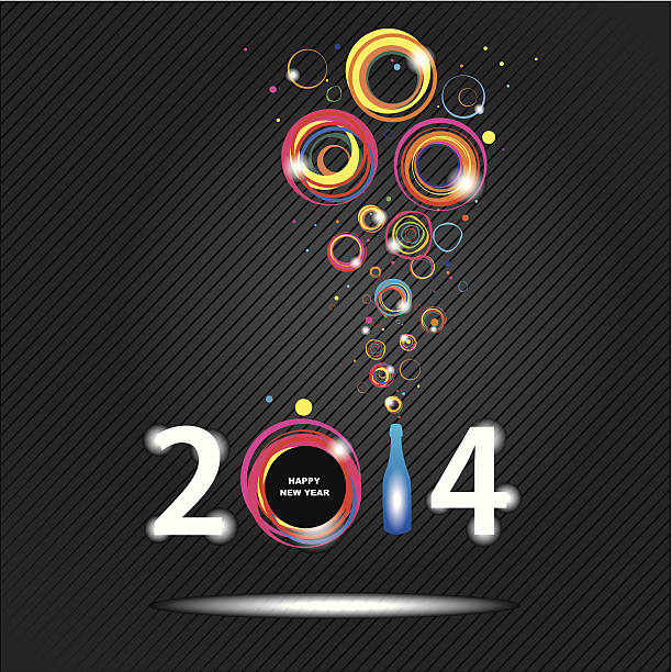 New year 2014 in black background. vector art illustration