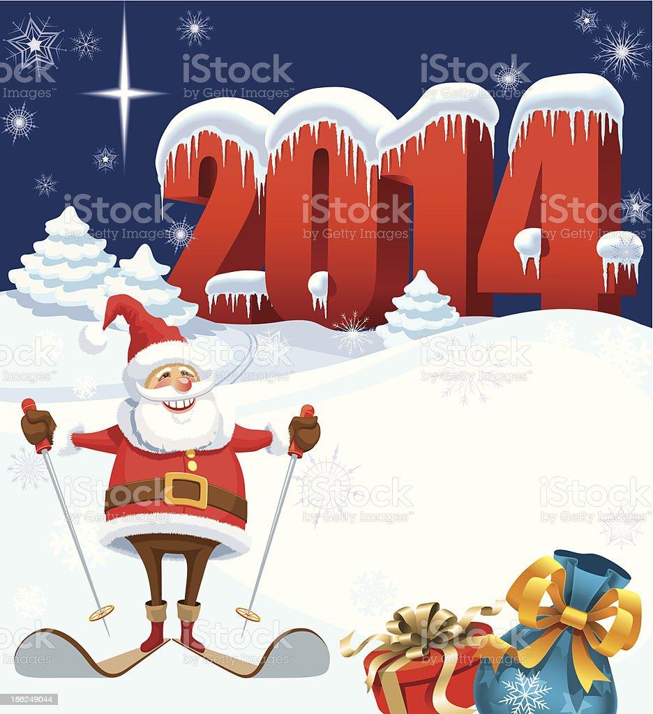 New Year 2014 vector art illustration