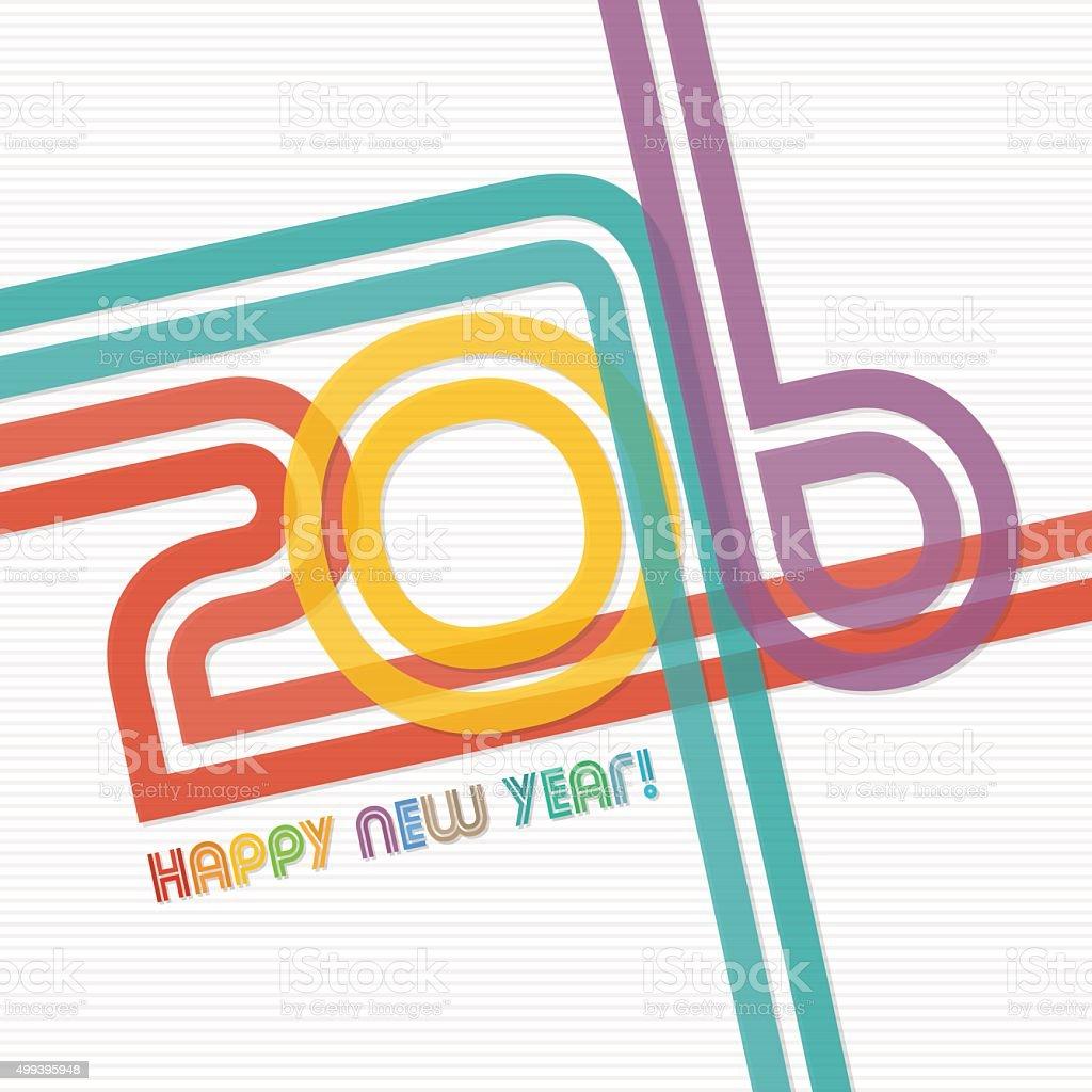 New year 2016 greeting card design vector art illustration