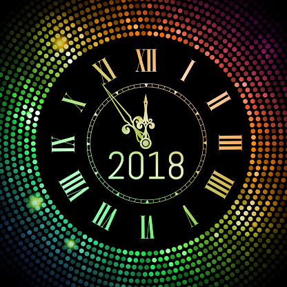 New Year 2017 celebration background. Colored circle disco pattern background with clock number 2017. Shining gradient club neon Happy New Year greeting holiday banner. Vectpr illustration EPS 10