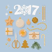 New Year 2017 decorations set  in flat modern style