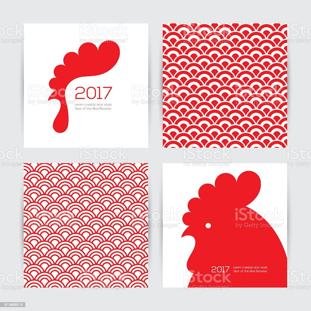 New Year 2017 greeting cards and seamless chinese textures vector art illustration