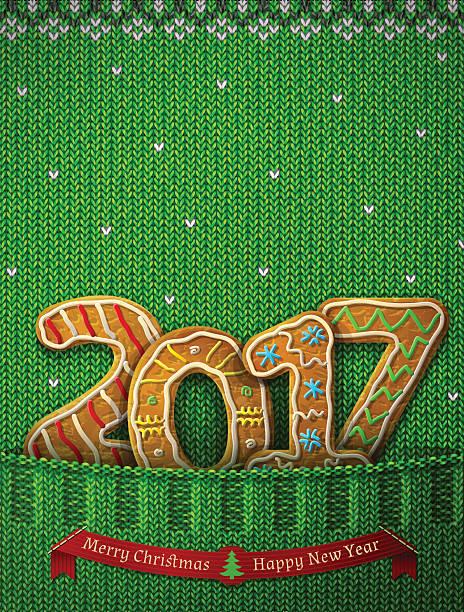 new year 2017 in shape of gingerbreads in knitted pocket - gehäkelte lebensmittel stock-grafiken, -clipart, -cartoons und -symbole