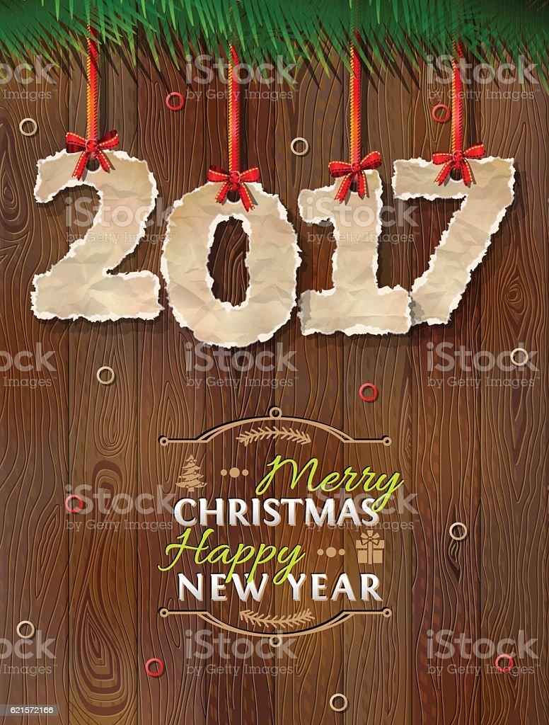 New Year 2017 of crumpled paper against wood background new year 2017 of crumpled paper against wood background – cliparts vectoriels et plus d'images de 2017 libre de droits