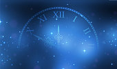 New Year 2018 blue glitter stardust background with clock. Vector illustration EPS10