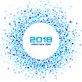 New Year 2018 Card Background. Blue Light Halftone Circle Frame using confetti circle dots texture isolated on white backdrop. Vector illustration.