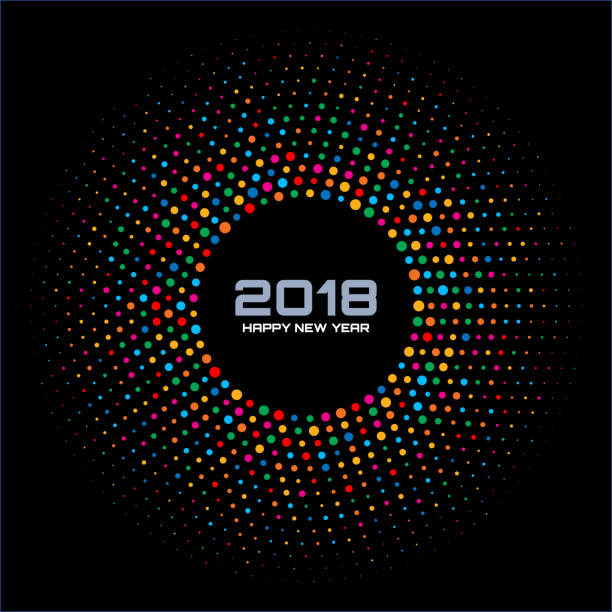 new year 2018 card background. bright colorful disco lights halftone circle frame isolated on black background. round border using rainbow colors confetti circle dots texture. vector illustration. - rainbow glitter background stock illustrations, clip art, cartoons, & icons