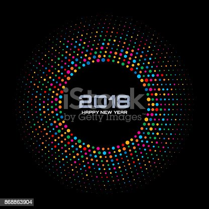 istock New Year 2018 Card Background. Bright Colorful Disco Lights Halftone Circle Frame isolated on black background. Round border using rainbow colors confetti circle dots texture. Vector illustration. 868863904