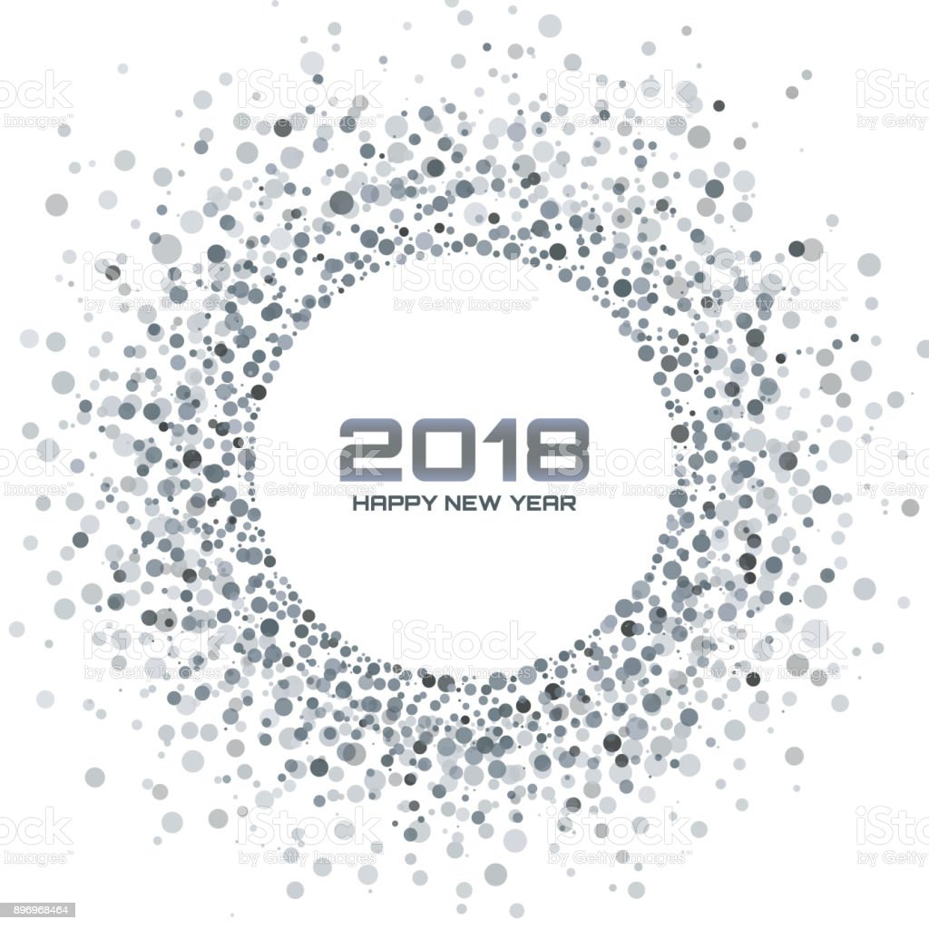 new year 2018 card background gray light halftone christmas circle frame using snowflake confetti circle