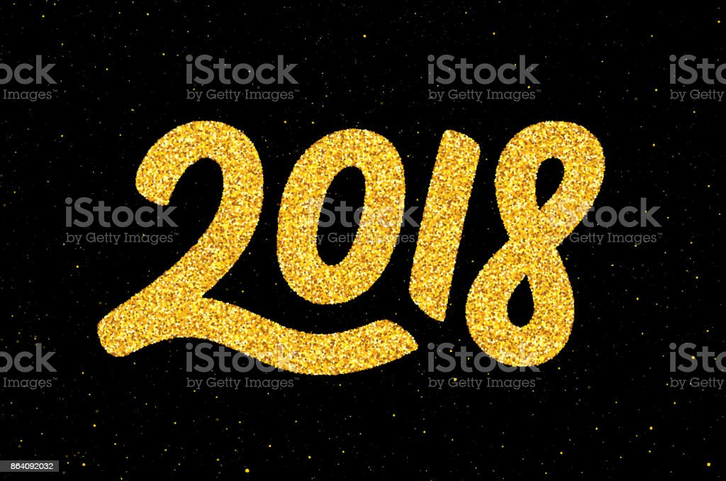 New Year 2018. Golden calligraphic number royalty-free new year 2018 golden calligraphic number stock vector art & more images of 2018