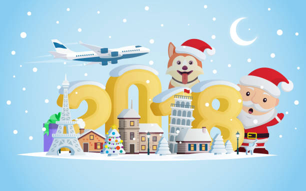 New year 2018. Greeting card. Flat 3d numbers and objects. The winter vacation. A small town in the mountains at night. vector art illustration