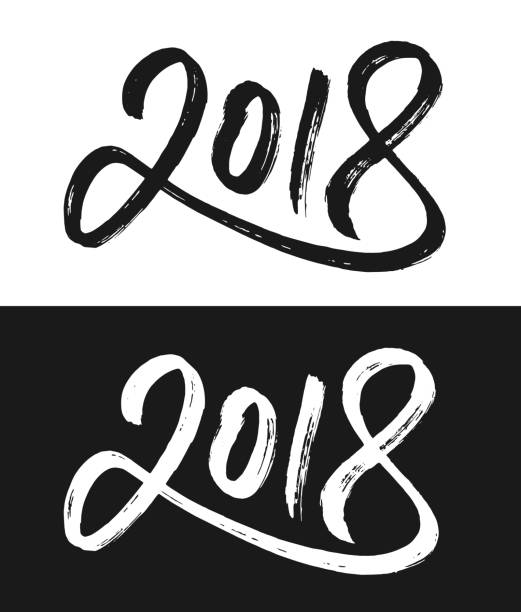 New Year 2018 greeting card in black and white vector art illustration