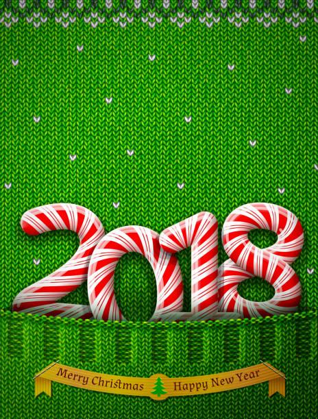 neue jahr 2018 in form von süßigkeiten stick in gestrickte tasche - gehäkelte lebensmittel stock-grafiken, -clipart, -cartoons und -symbole