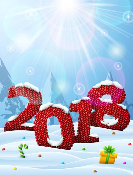 neue jahr 2018 in form von gestrick im schnee - gehäkelte lebensmittel stock-grafiken, -clipart, -cartoons und -symbole